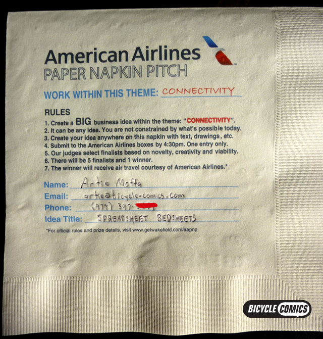 American Airlines Paper Napkin Pitch